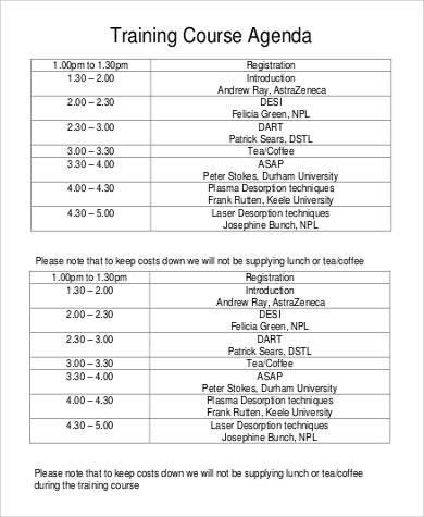 training course agenda in pdf