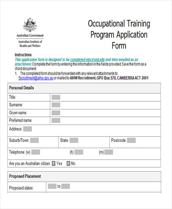 training program application form