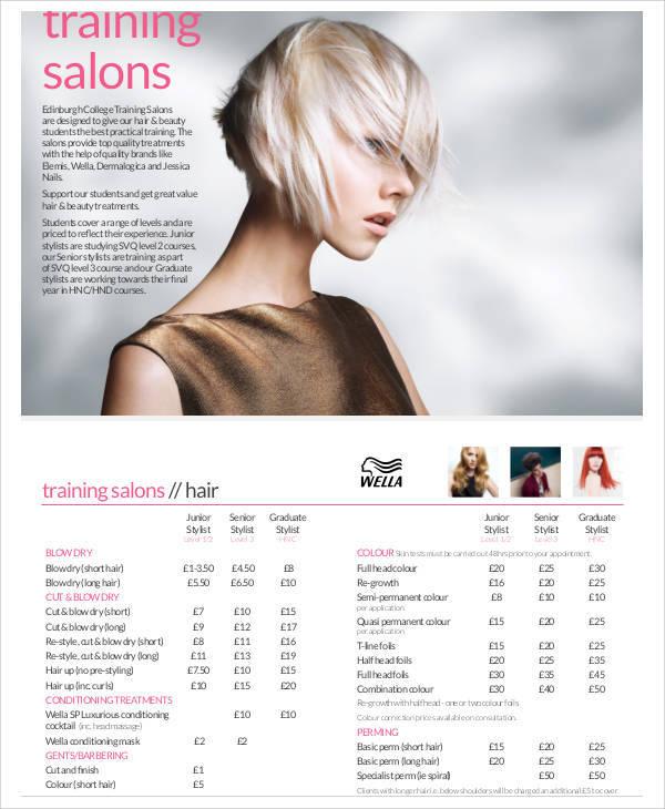 training salon price list1