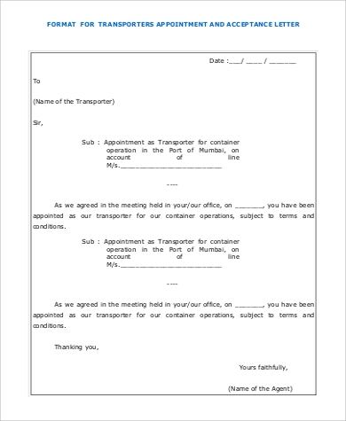 transporters appointment acceptance letter format