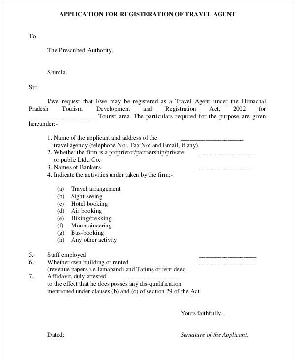 travel agency registration form
