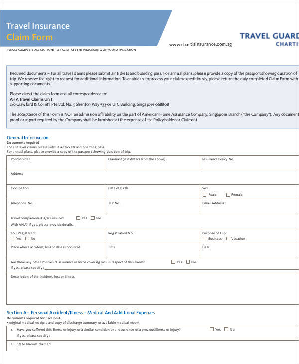 travel direct claim form