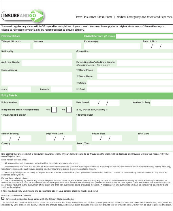 travel insurance claim form