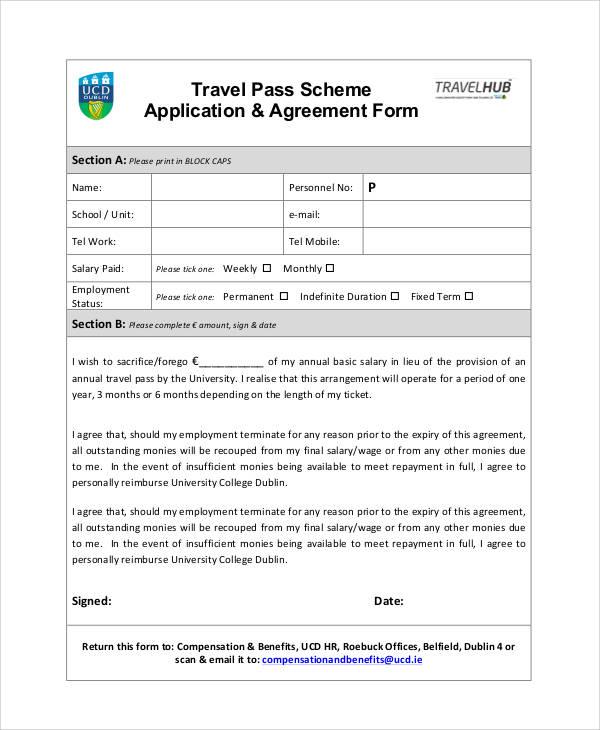 travel pass scheme application form