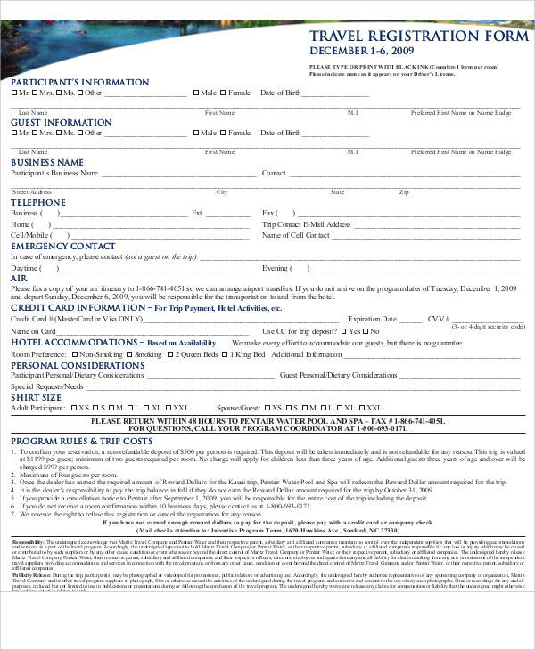 travel registration form example