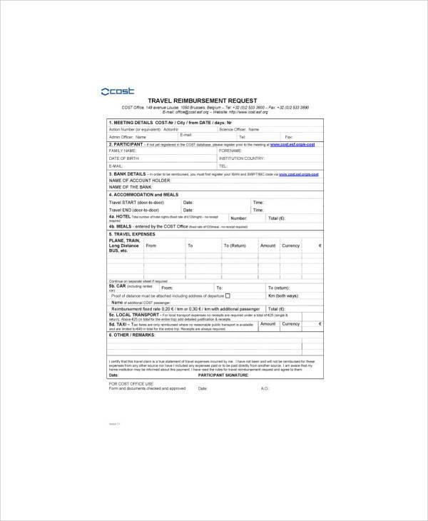 travel reimbursement claim form