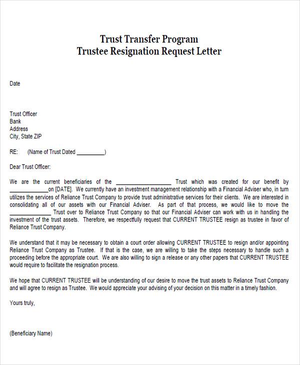 trustee resignation request letter