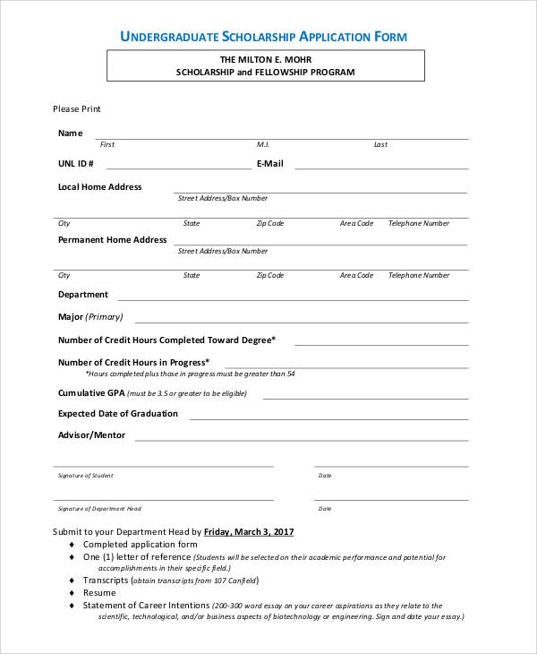 generic scholarship application form 66  Basic Application Forms | Sample Templates