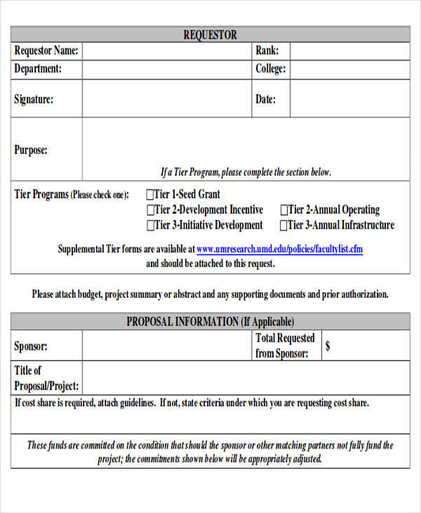 Sample Funding Request Form   Examples In Word Pdf