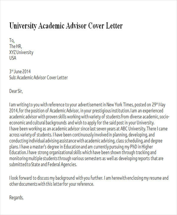 Athletic academic advisor cover letter