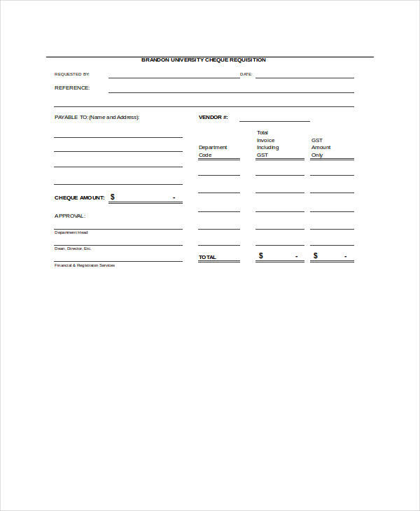 university cheque requisition form