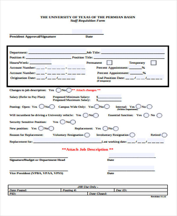 university employee requisition form