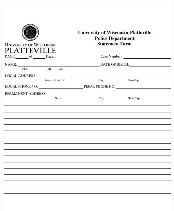 university police statement form