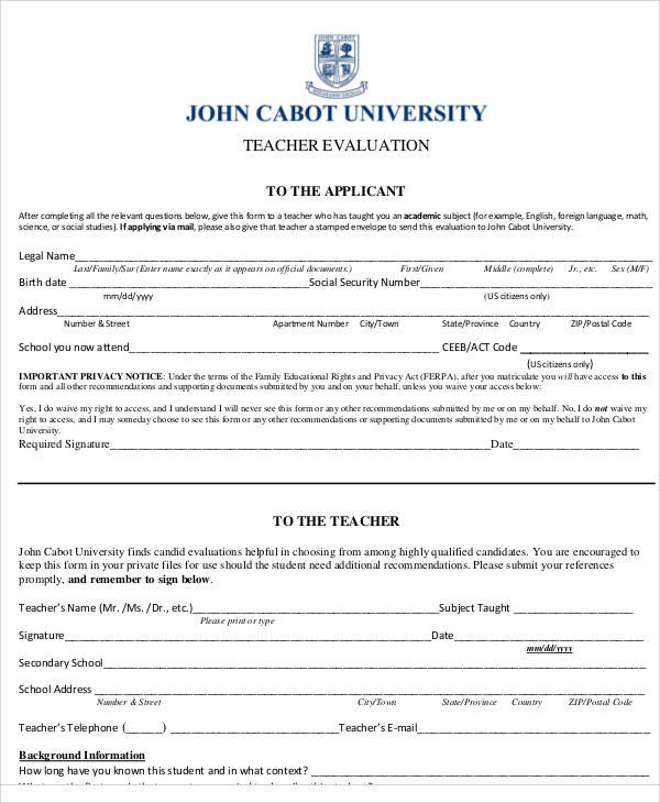 university teacher evaluation form