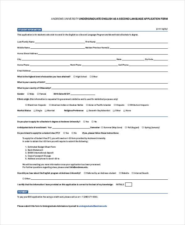 university undergraduate application form