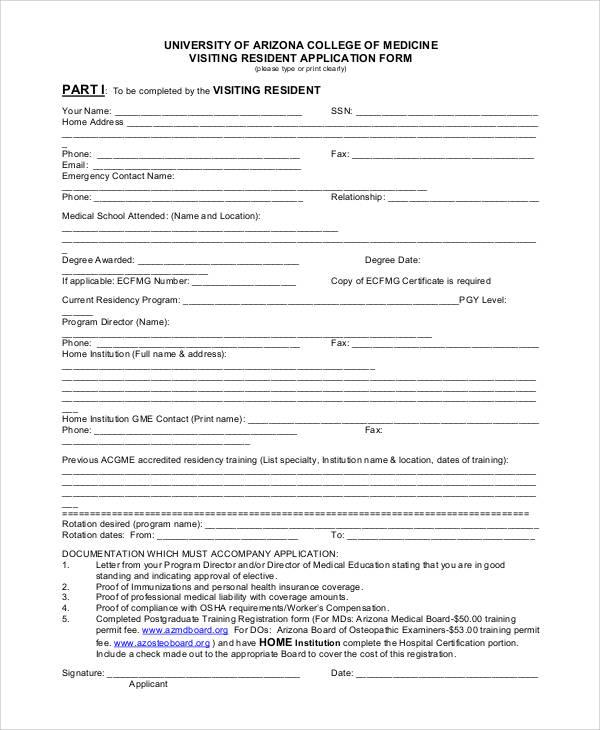 university of medicine application form