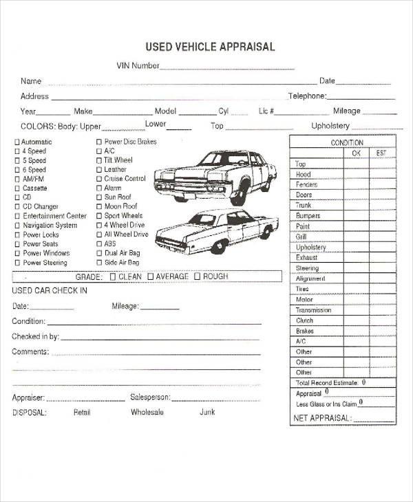 used car appraisal format