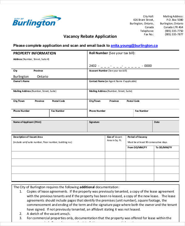 vacancy rebate application form