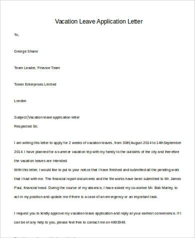 vacation leave letter leave letter format 25409 | Vacation Leave Application Letter1