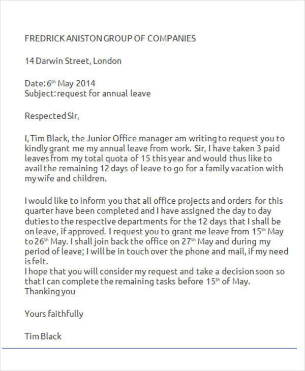 vacation leave letter sample for office 42 leave letter samples pdf word apple pages 25505 | Vacation Leave Request Letter