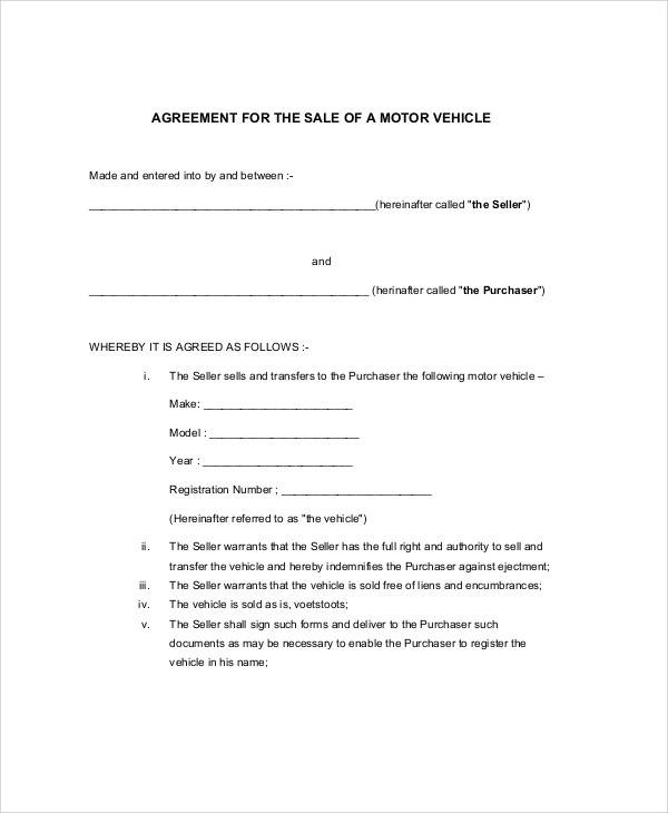 vehicle agreement of sale1