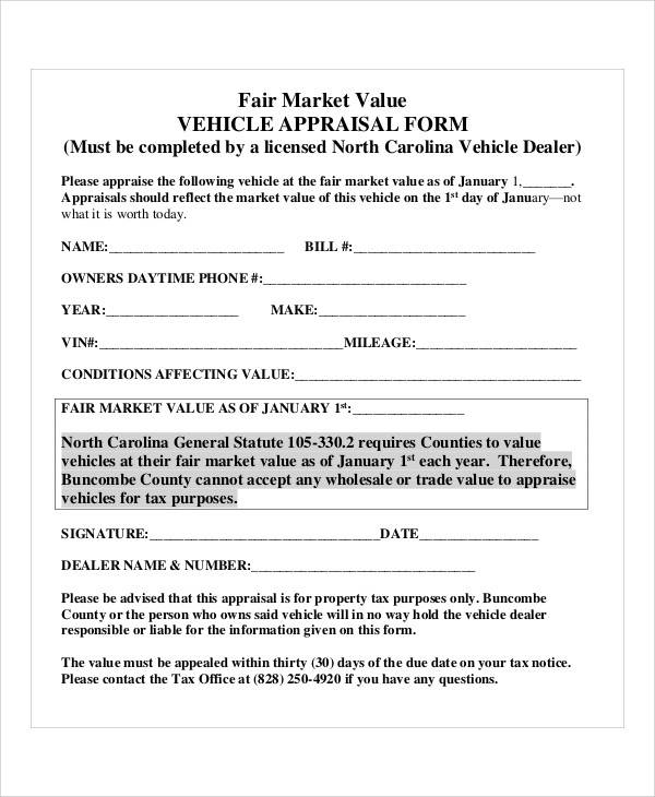 29 Appraisal Form in PDF – Vehicle Appraisal Form
