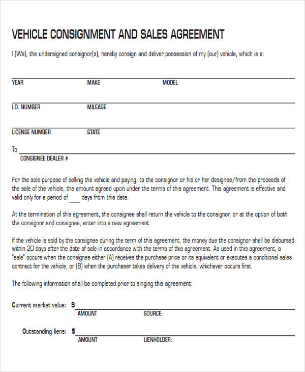vehicle consignment agreement form