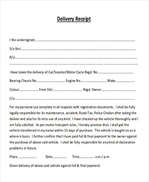 vehicle delivery receipt form