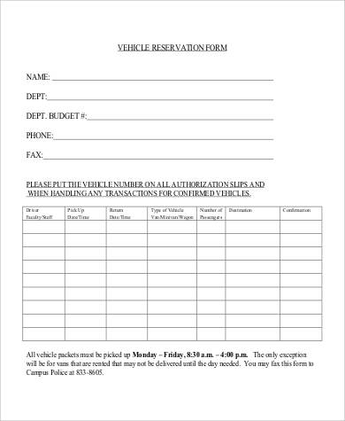vehicle reservation form