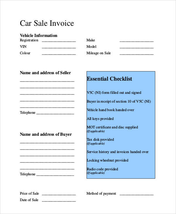 vehicle sale payment receipt