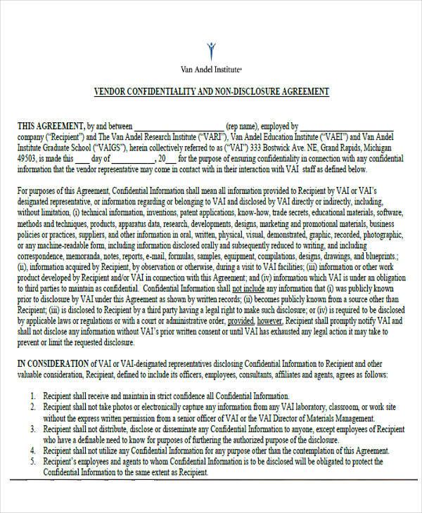 Vendor Confidentiality U0026 Non Disclosure Agreement