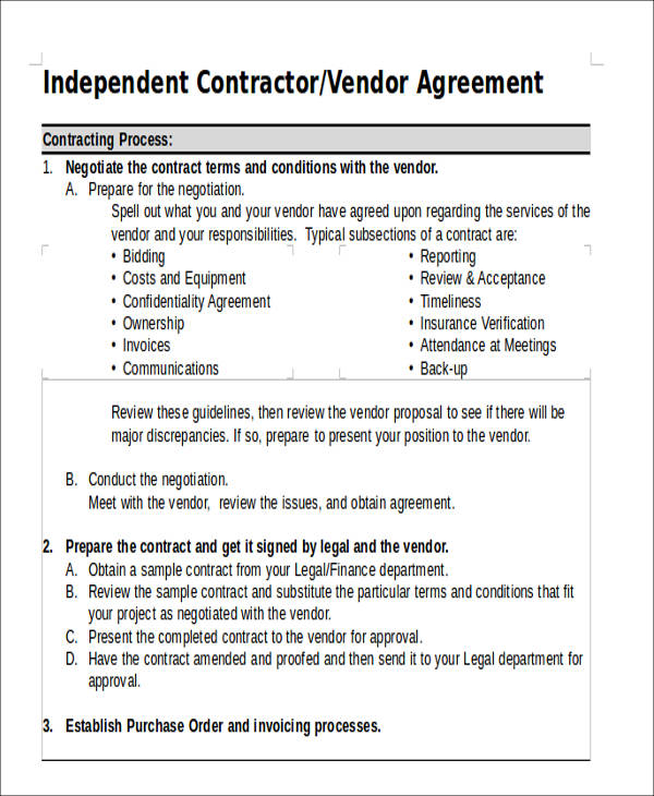 vendor contractor agreement form