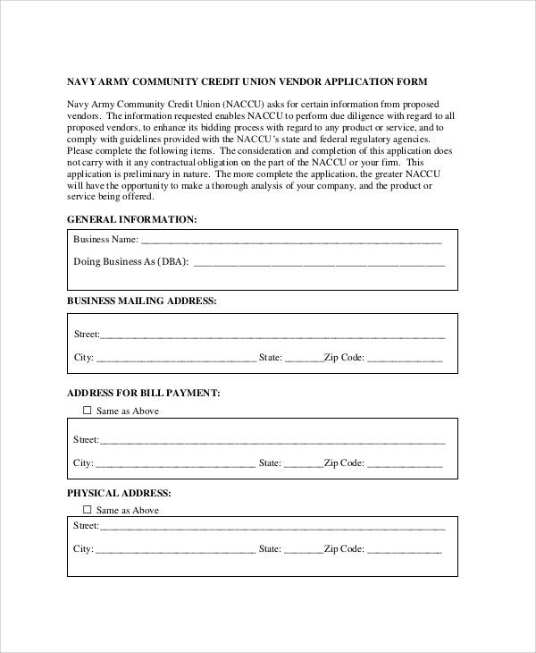 vendor credit application form