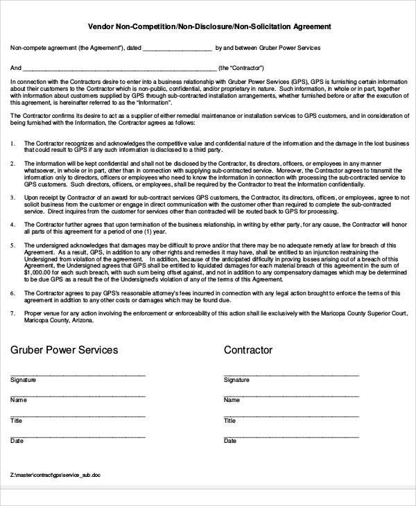 vendor non compete agreement