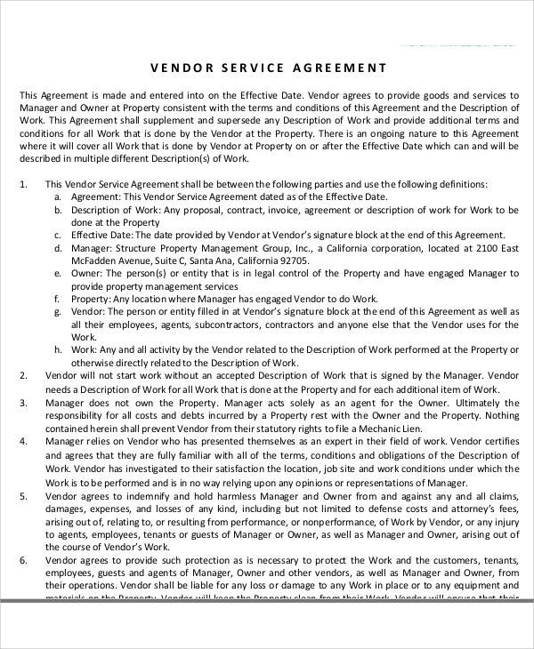 vendor service agreement1