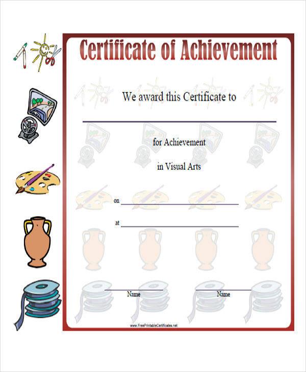 visual art award certificate1