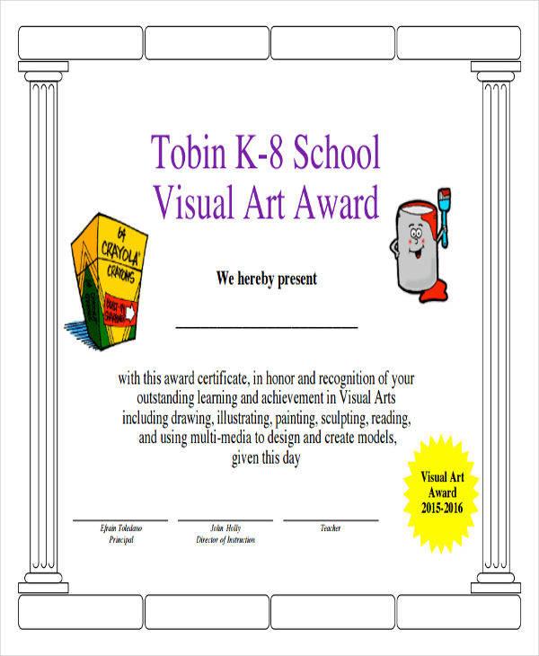 visual art award certificate2