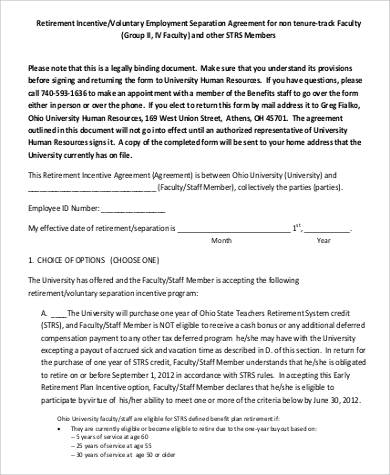 Employment Separation Agreement Voluntary Separation Agreement
