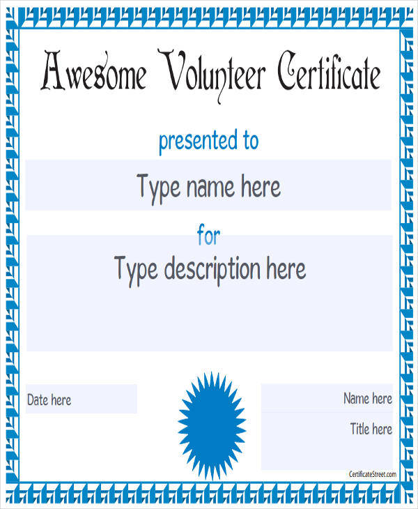 volunteer award certificate