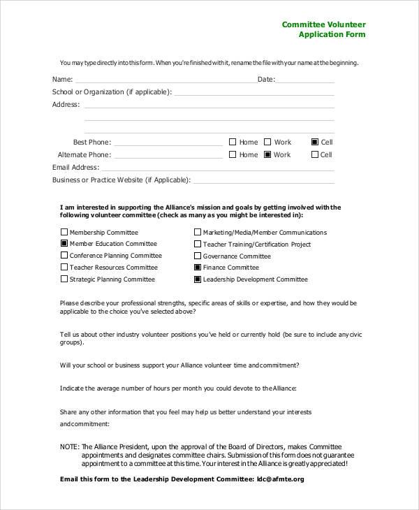 volunteer committee application form