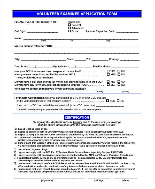 volunteer examiner application form