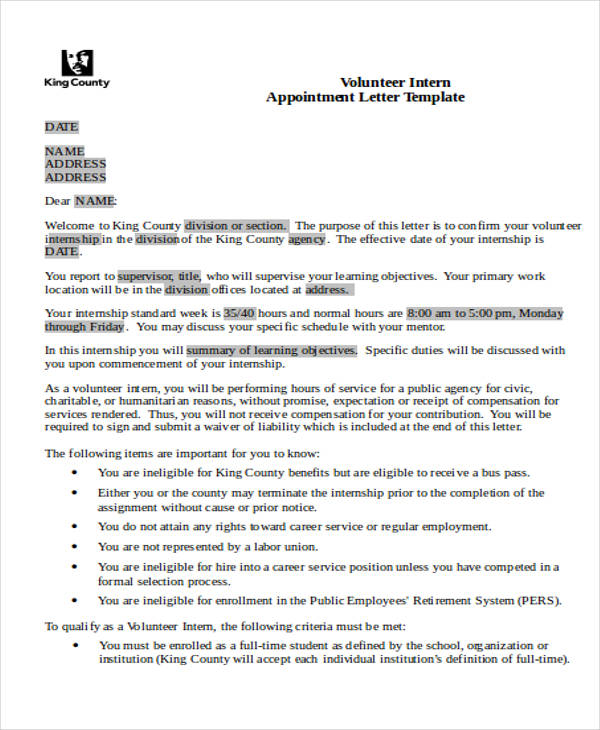 volunteer intern appointment letter