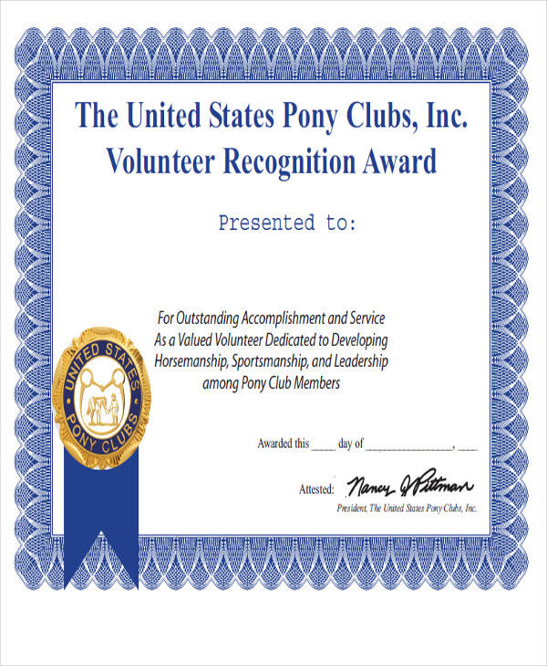 22 award certificates samples templates sample templates for Volunteer recognition certificate template