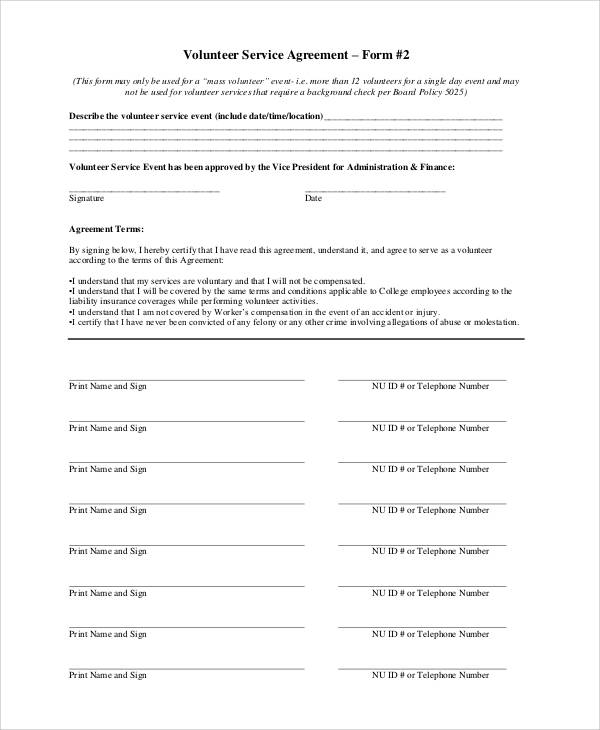 volunteer service agreement form