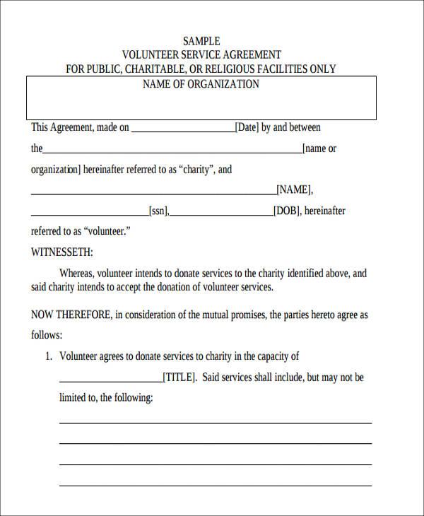 volunteer service agreement form3