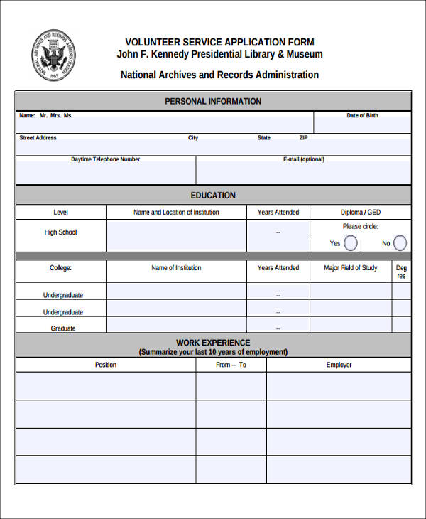 volunteer service application form1