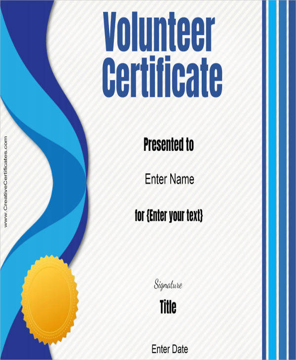 volunteer service award certificate2