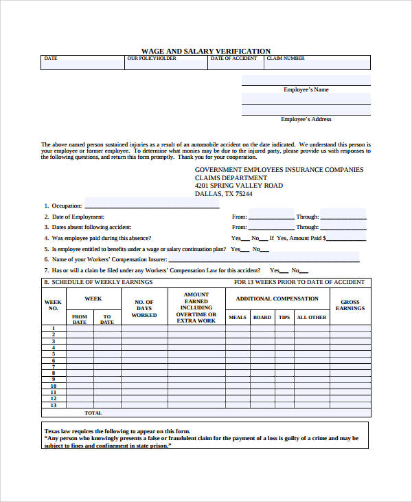 wage and salary verification form