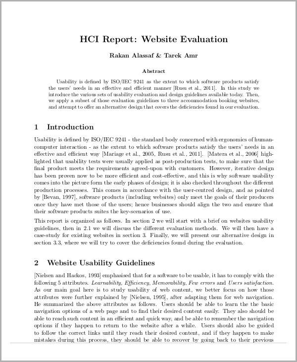 website evaluation report