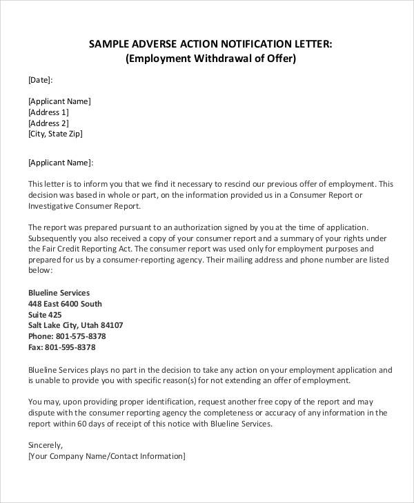 withdrawal of offer of employment letter
